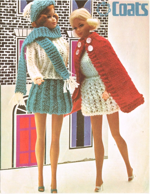 12 Dolls Clothes Knitting Pattern Barbie Sindy Vintage Copy