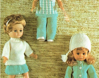 Dolls clothes knitting pattern. 14 inch doll. Vintage copy. PDF instant download.