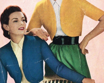 Ladies Retro Bolero cardigan knitting pattern. PDF Instant download