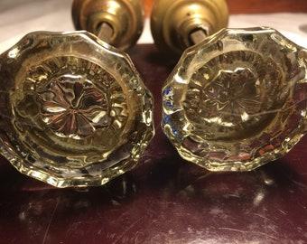 vintage glass door knobs lot of two - Antique Glass Door Knobs