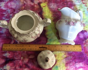 "Vintage Johann Haviland Cream and Sugar set ""Petit Point"" Pattern"