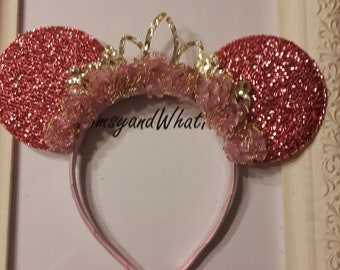 Pink Minnie Mouse Ears with Gold Tiara and light lavender organza flowers trimmed in gold.