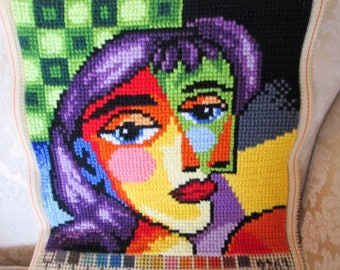 Picasso-like needlepoint (to frame or for a pillow) Large