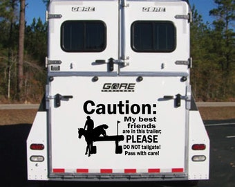 DO NOT TAILGATE REFLECTIVE horse trailer decal CAUTION HORSES STAY BACK 15/' WHT