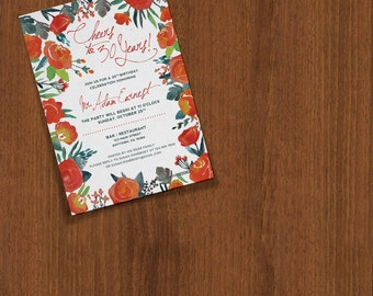 Watercolor Floral Anniversary Birthday Customizable Invitation