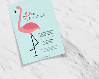 Let's Flamingle Anniversary Birthday Customizable Flamingo Invitation