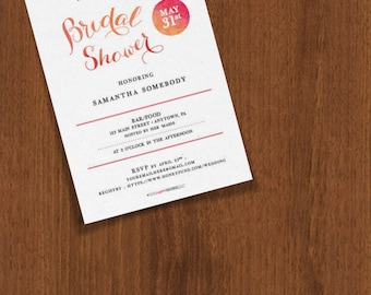 Watercolor Texture Customizable Bridal Shower Invites