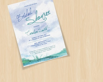 Blue Skies Watercolor Texture Customizable Baby Shower Invites