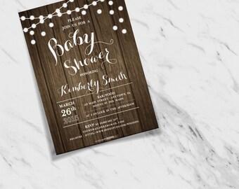 Woodgrain Texture + String Lights Customizable Baby Shower Invites
