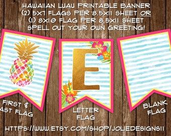Hawaiian Luau Birthday Banner