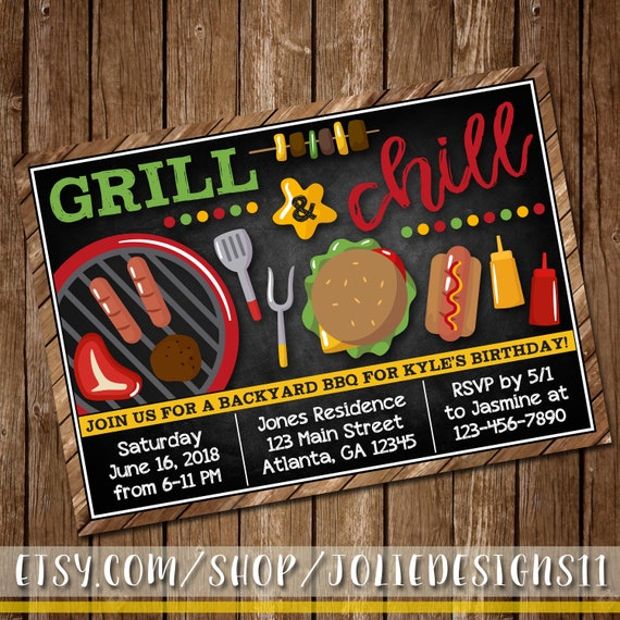 grill chill summer bbq birthday invitation cookout invite etsy