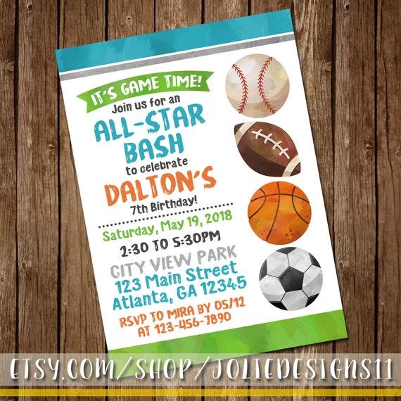 all star sports boy s birthday party invitation or baby etsy