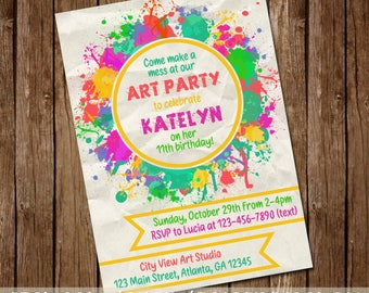 Art Party Paint Splatter Invite - Colorful Rainbow Birthday Invitation - Wine and Paint General Invite - 5x7 - Digital Download - Printable