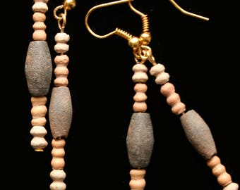 Egyptian Coptic Terracotta Bead Earrings with 24ct gold plated fittings, Ancient, Jewelry, Egyptian,