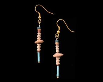 Egyptian Earrings Blue and Tan Faience with Clay disc beads 3rd c AD, Ancient, Jewelry,