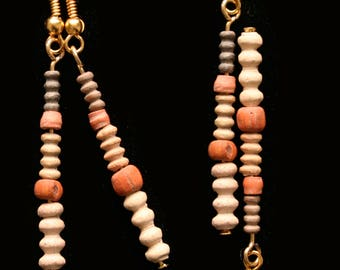 Ancient Coptic Terracotta Bead Earrings with 24ct gold plated fittings, Ancient, Jewelry,