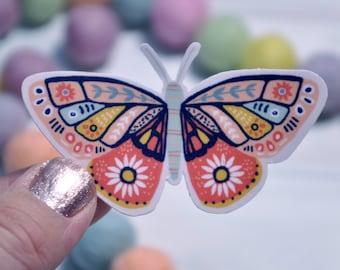 Butterfly Vinyl Sticker Floral Waterproof Matte   Die Cut Decal Sticker   Laptop   Tumbler   Cup   Water Bottle   Tablet   Car Decal