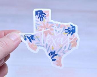 Texas Vinyl Sticker Floral Waterproof Matte   Die Cut Decal Sticker   Laptop   Tumbler   Cup   Water Bottle   Tablet   Car Decal