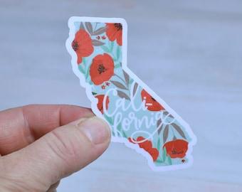 California Vinyl Sticker Floral Waterproof Matte   Die Cut Decal Sticker   Laptop   Tumbler   Cup   Water Bottle   Tablet   Car Decal