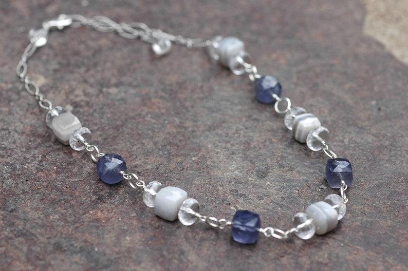 Iolite Necklace; Opal Necklace; Crystal Choker; Gemstone Choker; Opal Choker; Sterling Silver Choker; Storm; Creativity
