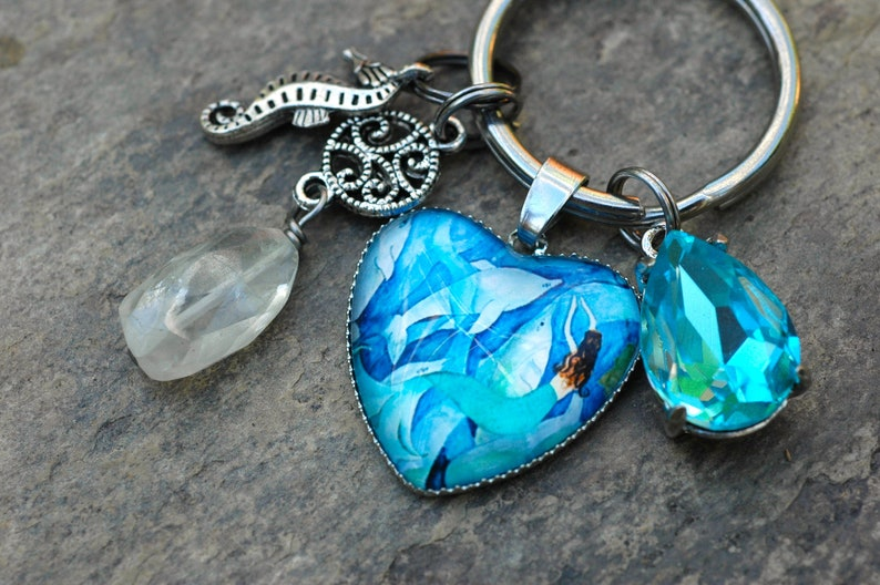 Mermaid Key Chain; Dolphin Purse Charm; Mermaid Gift; Ocean Zipper Pull; Dolphin Lover Gift; Mermaid Lover Gift; Whimsical