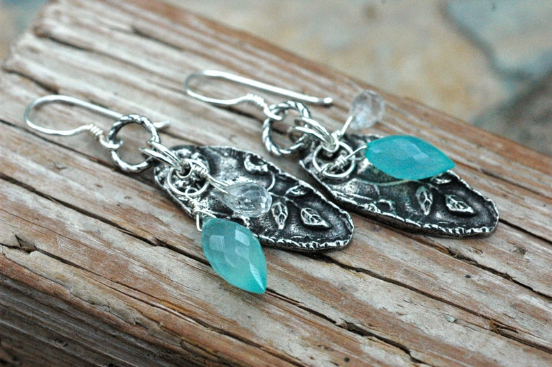 Aqua Chalcedony Earrings; Inviciti; Floral Earrings; Sky Blue; Multi Gemstone Earrings; Aquamarine Earrings; Nature Inspired