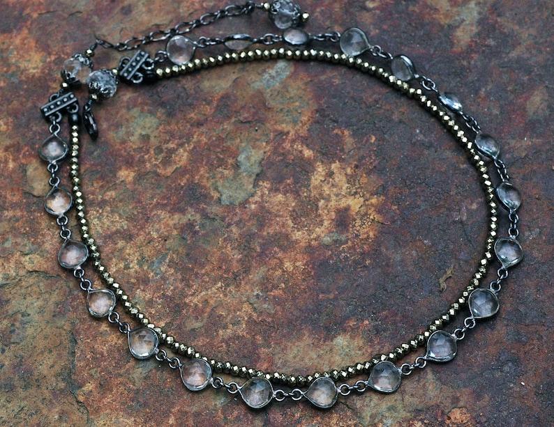Crystal Quartz Necklace Multistrand; Pyrite Jewelry; Quartz Choker Multistrand; Double Strand Gemstone Necklace
