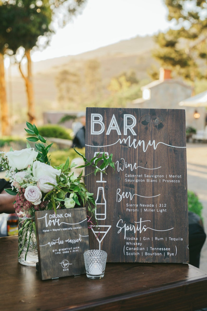Custom Solid Wood Bar Menu or Food Menu for Wedding image 0