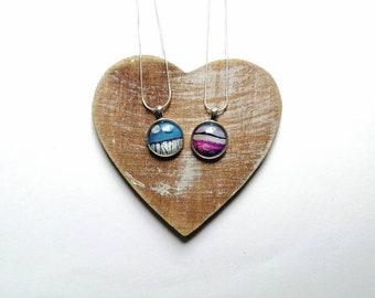 20mm glass print pendants | Purple heather | Silent flight | handmade jewellery | Scottish landscapes | Miriam Emerton | Ailleagan Art