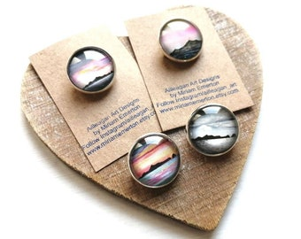 St Kilda 20mm brooches | Scottish landscape art | Scottish seascape jewellery | Ailleagan Art | Miriam Emerton