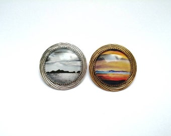 St Kilda & Luskentyre sunset 34mm brooches | gold or silver plate | twisted rope scottish brooch | Limited edition | Ailleagan Art |