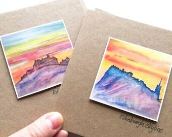 Edinburgh castle and skyline print cards | handmade cards | Scottish cards | landscape artist | Miriam Emerton | Ailleagan Art