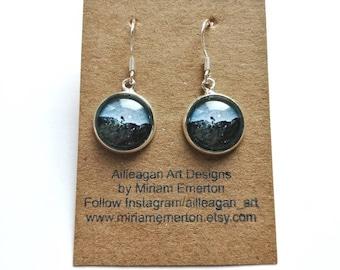 Fintry Tree earrings | drop hook earrings | other earring styles also available | Scottish landscape artist | print earrings | ailleagan art
