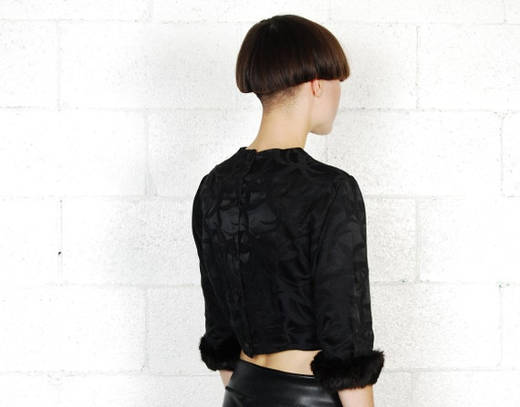 cropped 50s blouse with fur cuffs
