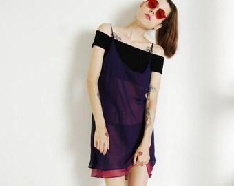sheer 90s layered dress