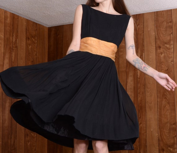 gold silk 50s party dress