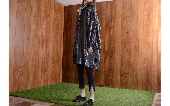 hooded 80s striped raincoat