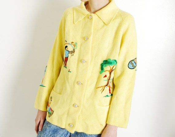 embroidered golf cardigan