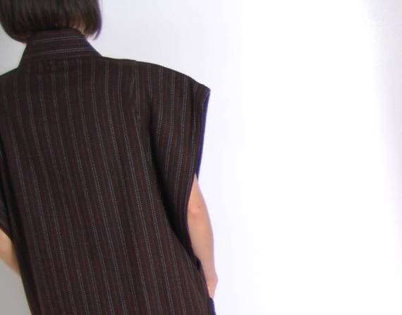 topper brown pinstriped brown pinstriped vest wool x65vnqIwf