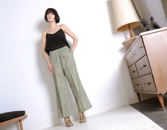 flared 70s moss green trousers xl