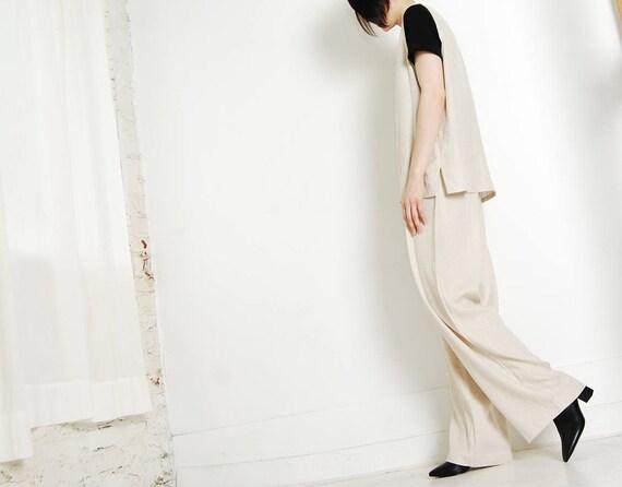 minimalist linen oatmeal pant suit