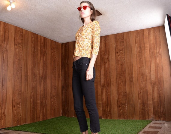 90s does 60s floral blouse