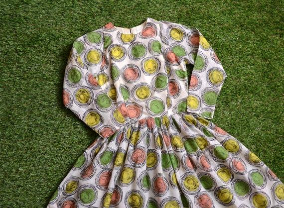 pink + green 50s polka dot dress