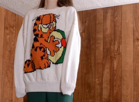 handknit garfield sweater