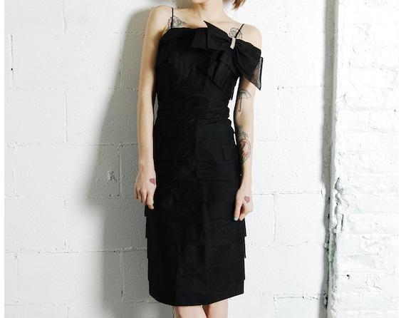 tiered silk 50s cocktail dress