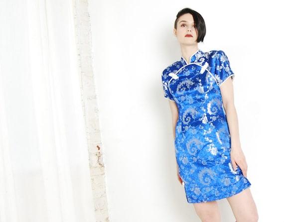 royal blue 90s cheongsam dress