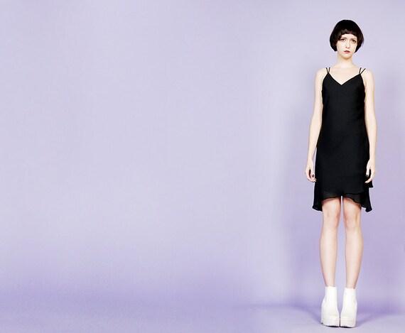 asymmetrical 90s slip dress - image 1