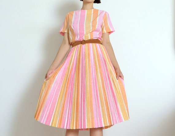1950s candy stripe dress