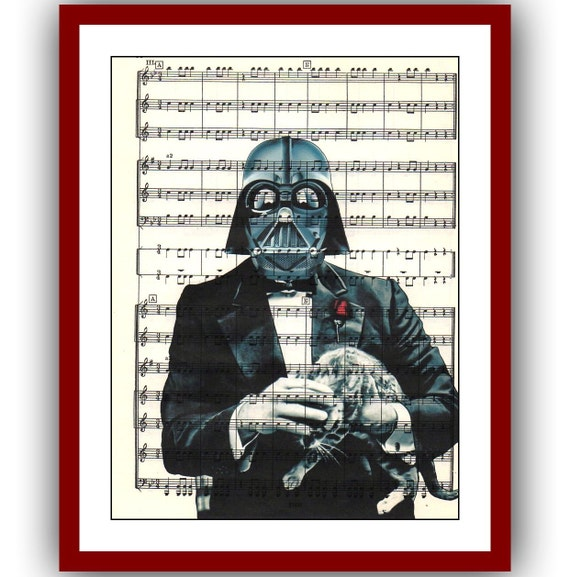 Padrino con gato Star Wars Poster Darth Vader Star Wars arte | Etsy