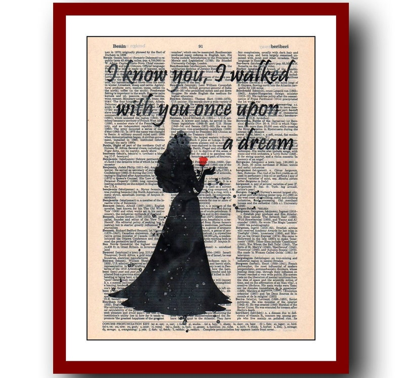Sleeping Beauty Aurora Dictionary Art Print Poster Picture Disney Princess Quote